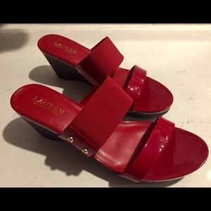 Ralph Lauren red patent leather/elastic heels